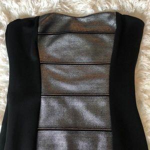Dresses - Black Silver Metallic Strapless Sexy BodyCon Dress